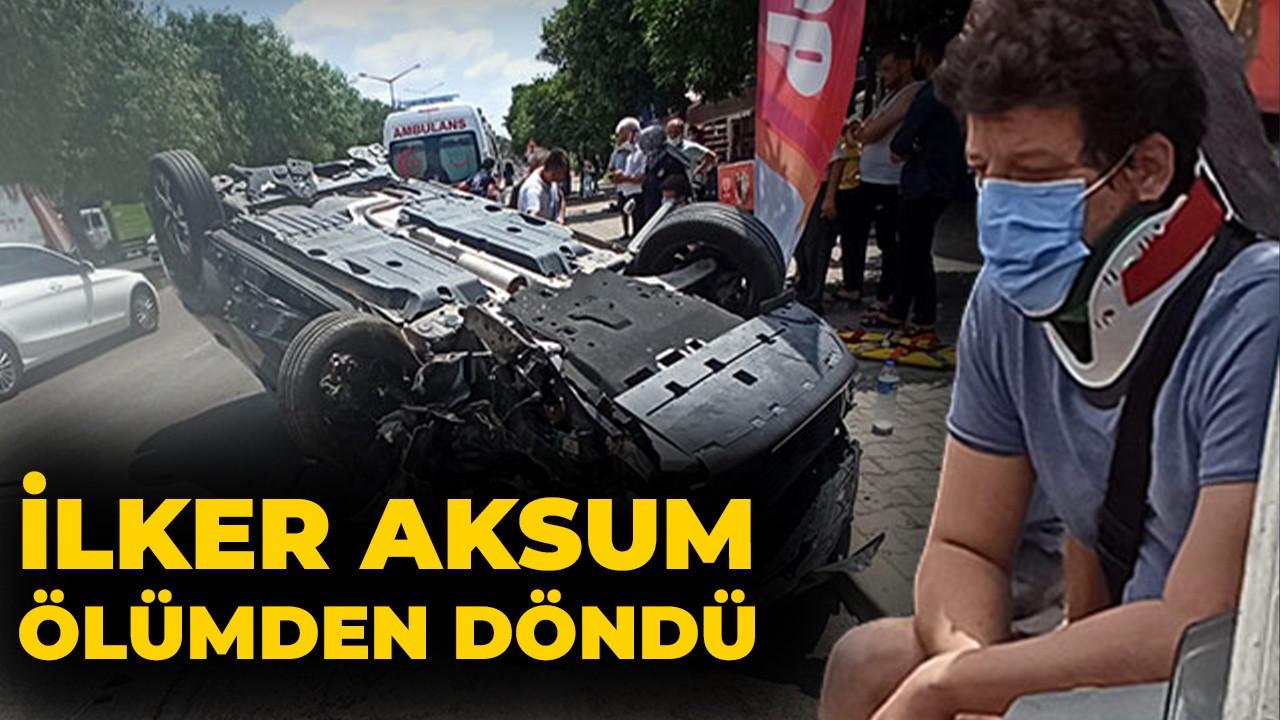 Oyuncu İlker Aksum'un otomobili takla attı
