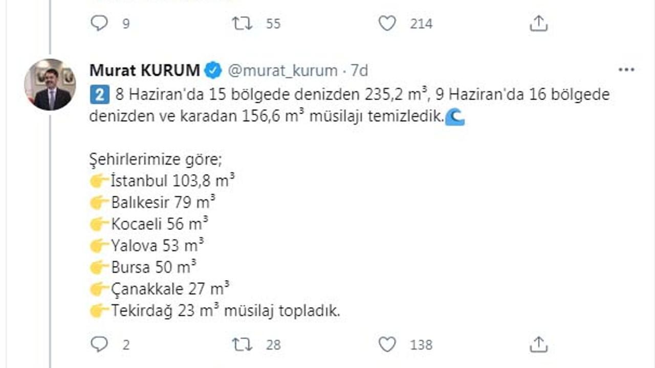 Bakan Kurum: 392 metreküp müsilajı toplayarak, bertarafa gönderdik