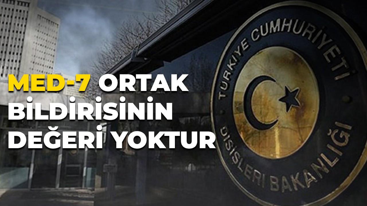 7 AB üyesinin ortak bildirisine Türkiye'den tepki