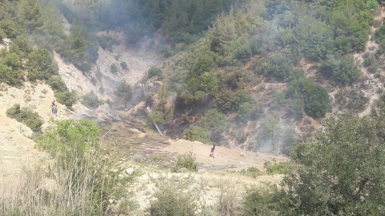 Orman yangını vatandaşların desteğiyle kısa sürede söndürüldü