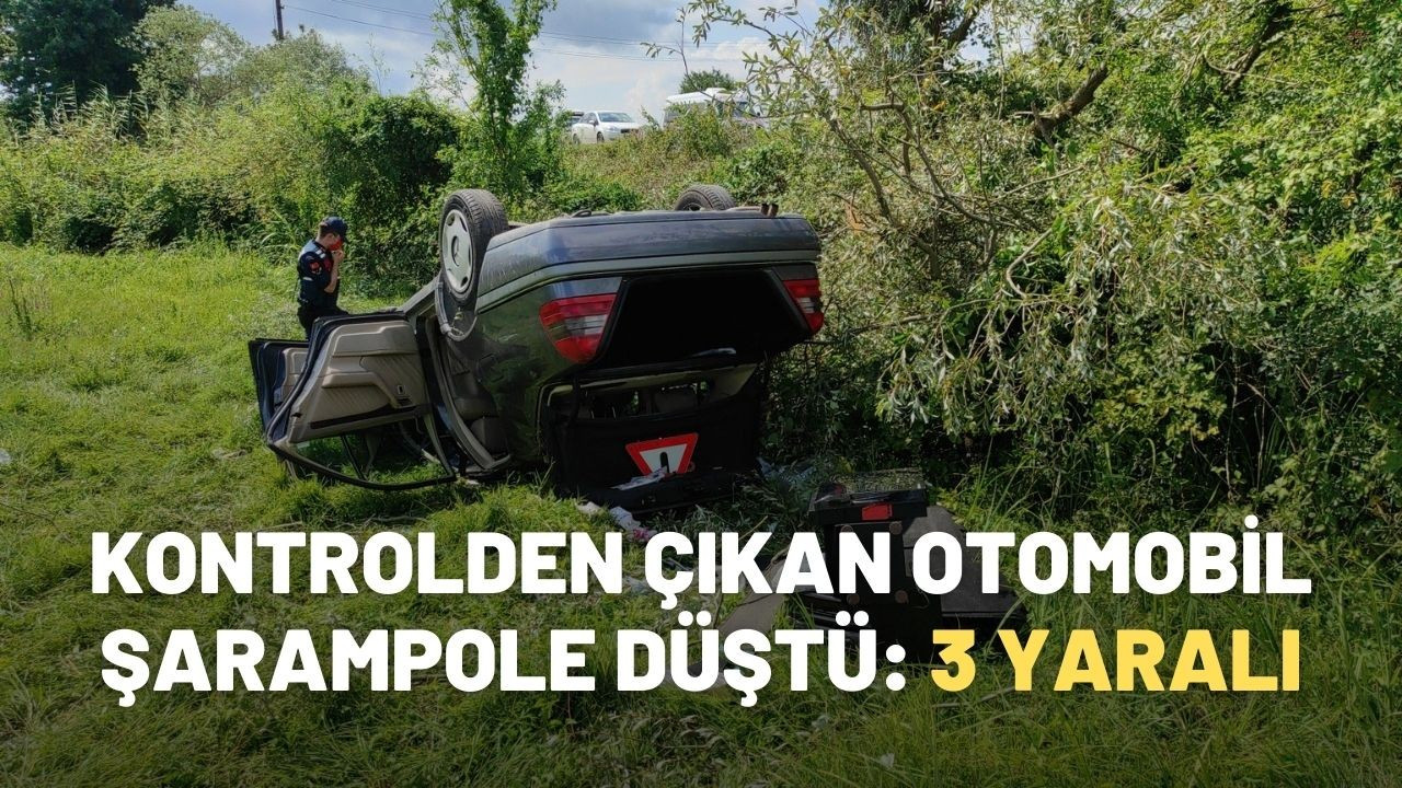Kontrolden çıkan otomobil şarampole düştü: 3 yaralı