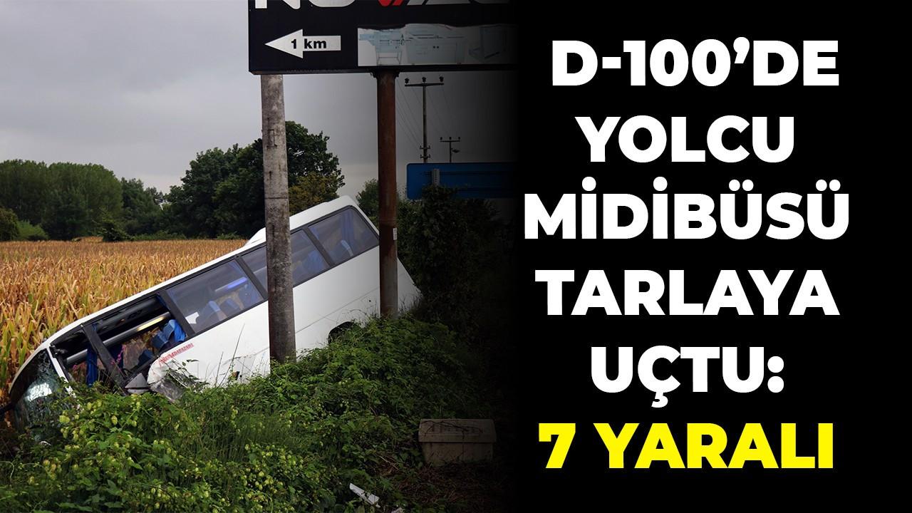 D-100'de yolcu midibüsü tarlaya uçtu: 7 yaralı