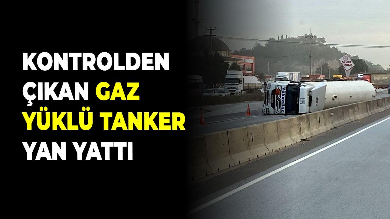 Kontrolden çıkan gaz yüklü tanker yan yattı