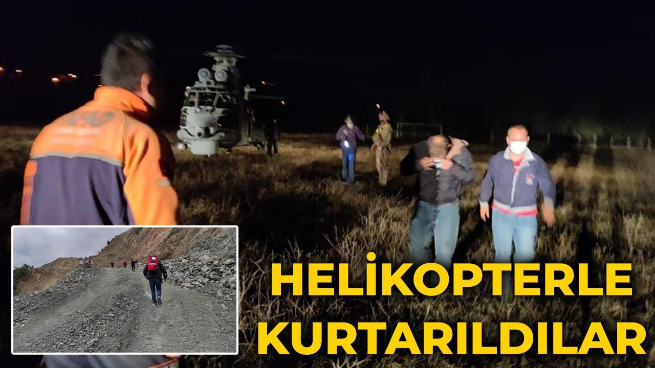 Kayalıklarda mahsur kalan iki arkadaş helikopterle kurtarıldı