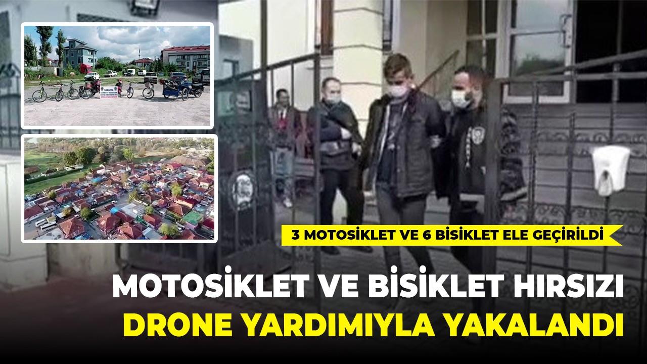 Motosiklet ve bisiklet hırsızı drone yardımıyla yakalandı