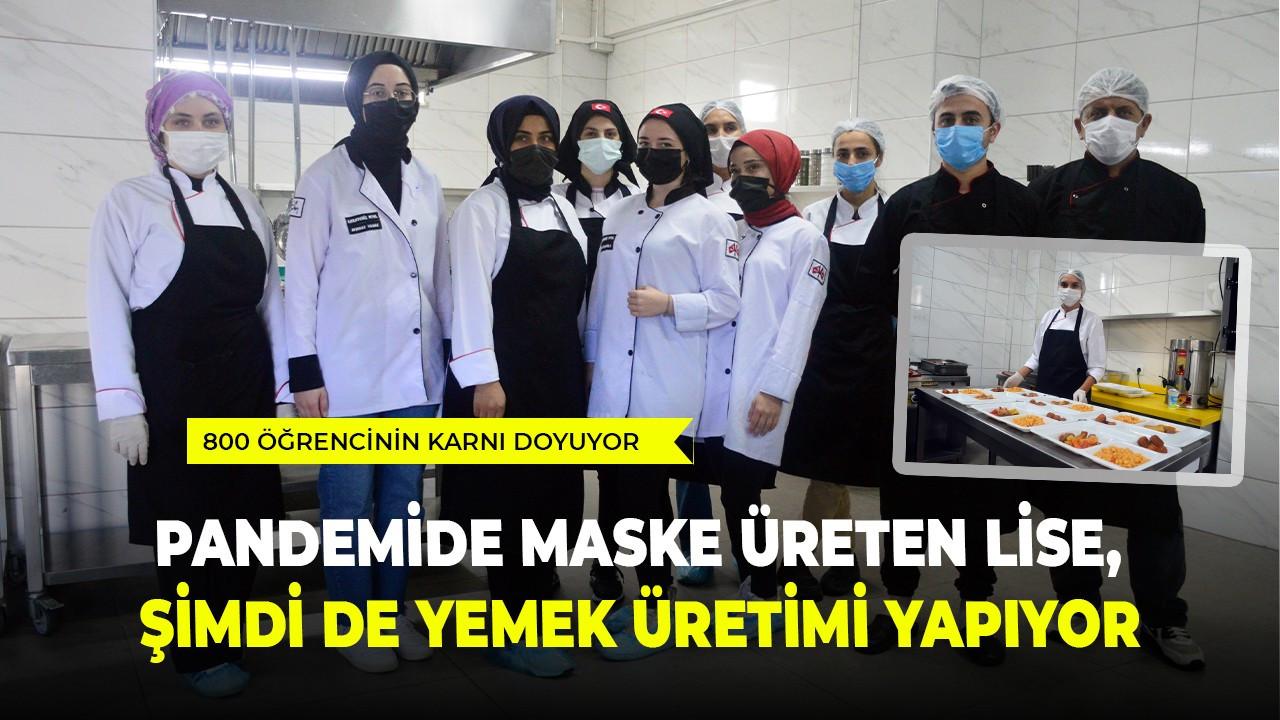 Pandemide maske üreten lise, şimdi de yemek üretimi yapıyor